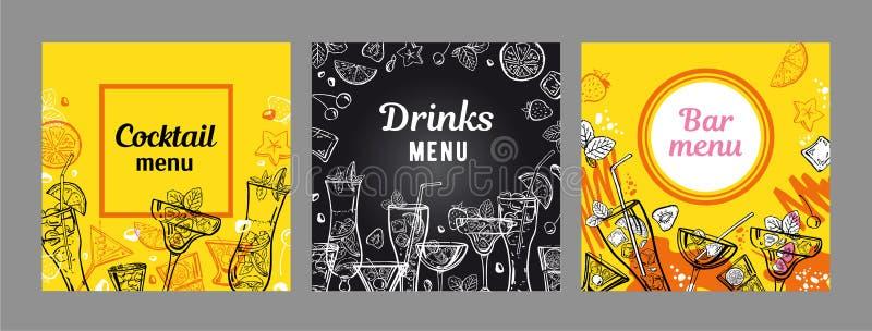 设置鸡尾酒菜单封面设计模板 与黄色和黑板背景的传染媒介概述手拉的例证 向量例证