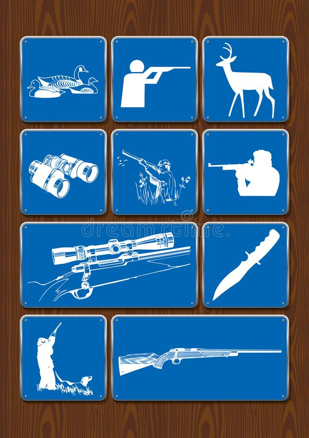 设置鸭子,猎人,鹿,双筒望远镜,望远瞄准镜,步枪象  在蓝色颜色的象在木背景 皇族释放例证