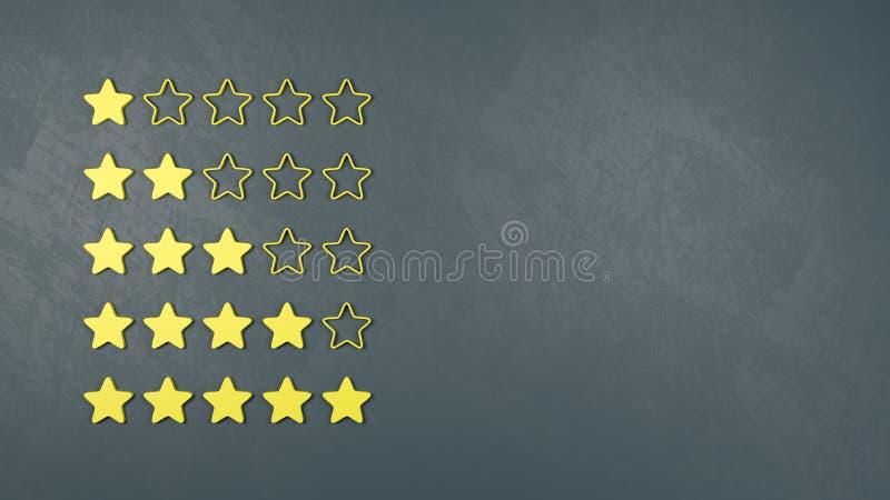 设置黄色星、规定值和勘测概念 库存例证