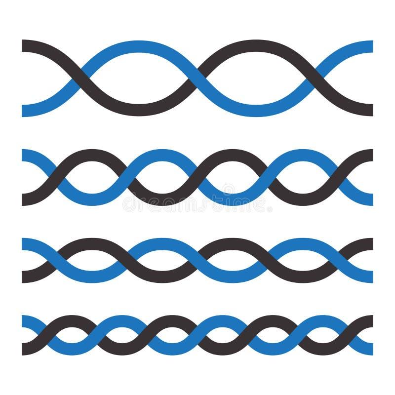 设置黑和蓝色圈,装饰元素 ?? 库存例证