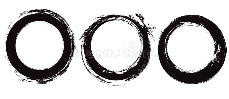 设置黑圈子难看的东西冲程 圆的墨水绘画的技巧 分别于背景的对象 传染媒介抓痕元素 皇族释放例证