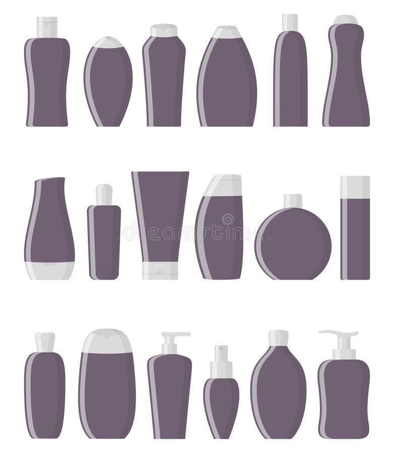 设置黑暗的紫色平的化妆瓶 奶油、香波、胶凝体、浪花、管和肥皂 皮肤和身体关心,toiletres 产品为 皇族释放例证