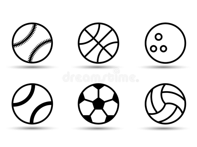 设置黑白体育球 也corel凹道例证向量 平的样式 影子 库存例证