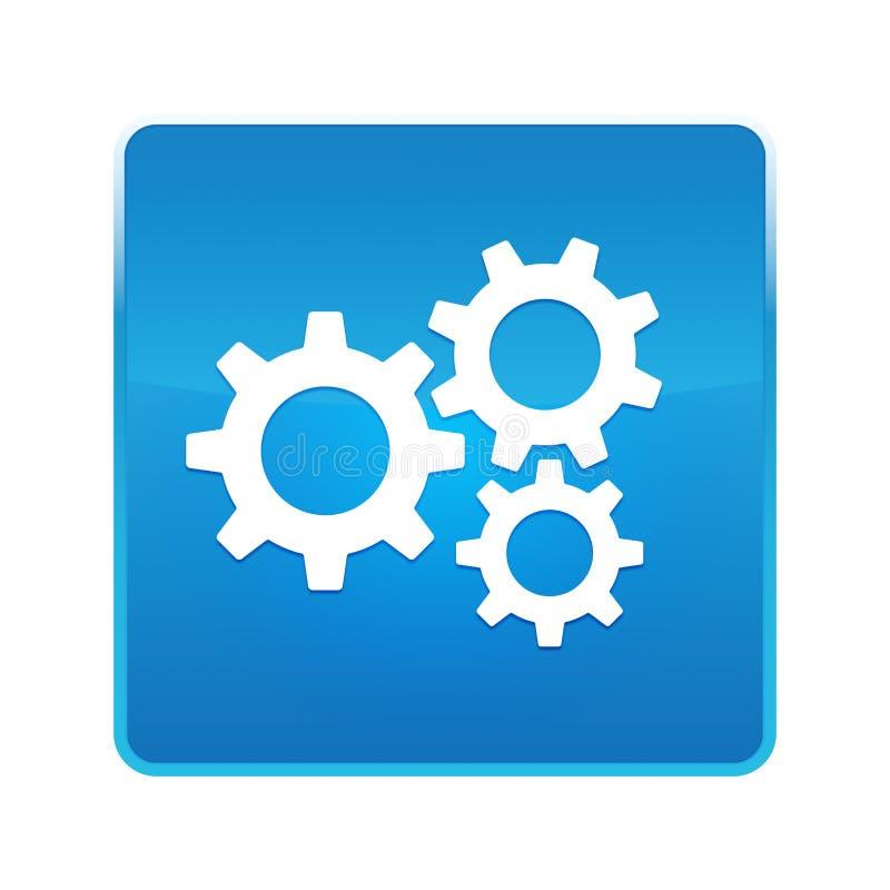 设置齿轮象发光的蓝色方形的按钮 皇族释放例证
