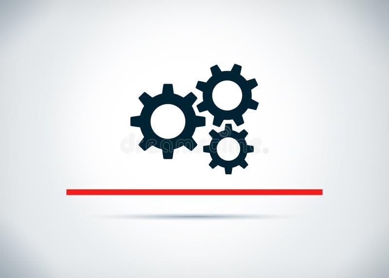 设置齿轮象摘要平的背景设计例证 库存例证