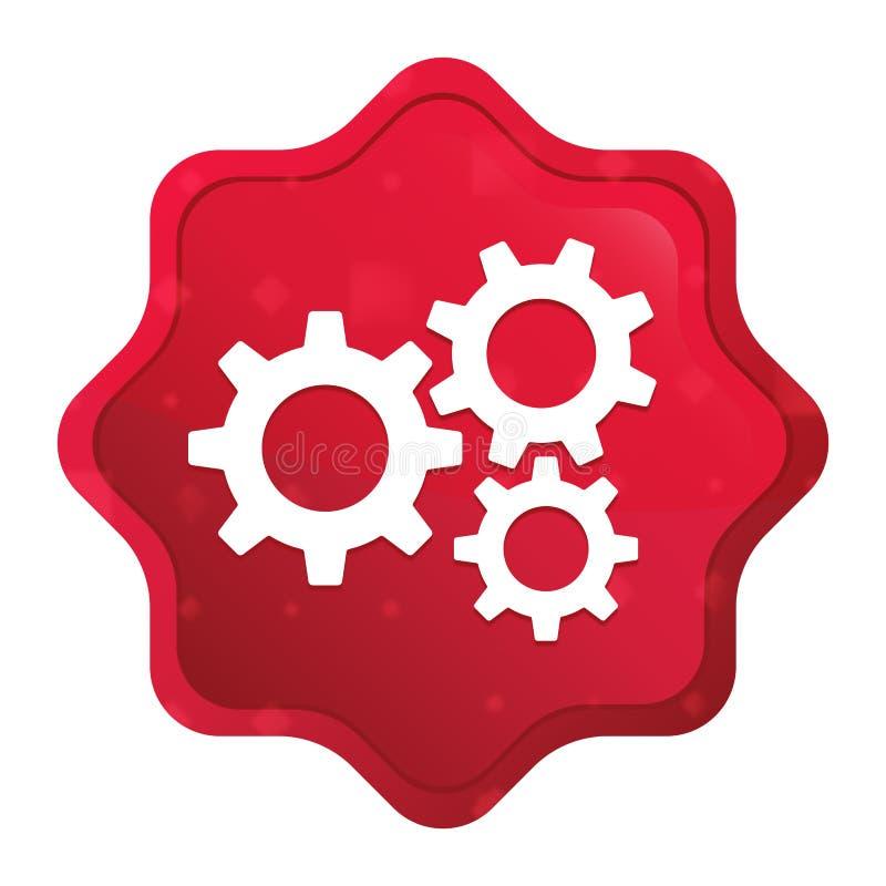 设置齿轮象有薄雾的玫瑰红的starburst贴纸按钮 库存例证