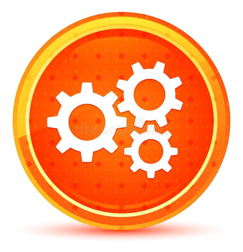 设置齿轮象自然橙色圆的按钮 向量例证