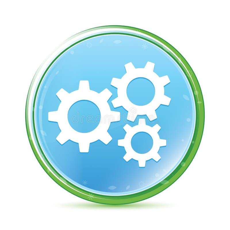 设置齿轮象自然水色深蓝蓝色圆的按钮 库存例证