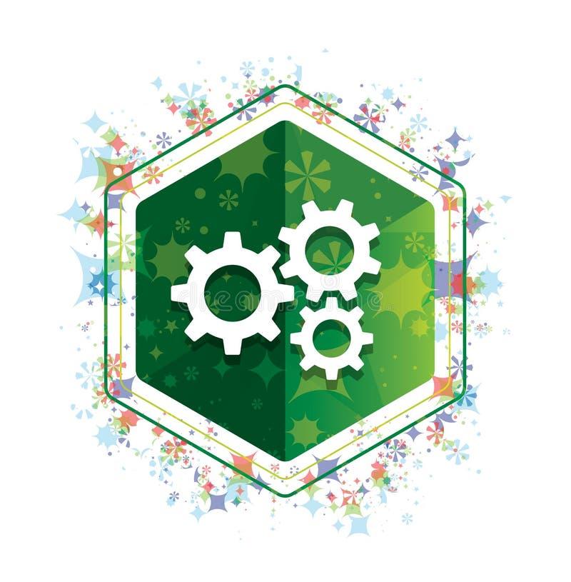 设置齿轮象花卉植物样式绿色六角形按钮 库存例证