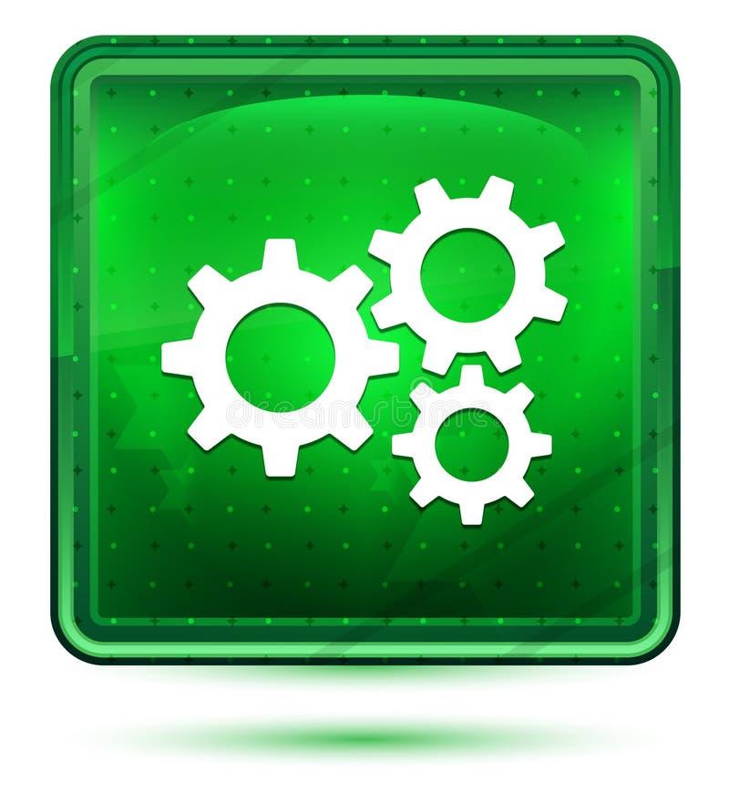 设置齿轮象霓虹浅绿色的方形的按钮 库存例证