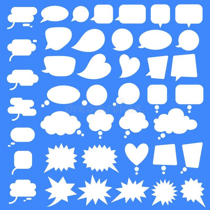 设置,平的样式传染媒介讲话泡影,云彩, baloons的汇集 库存例证