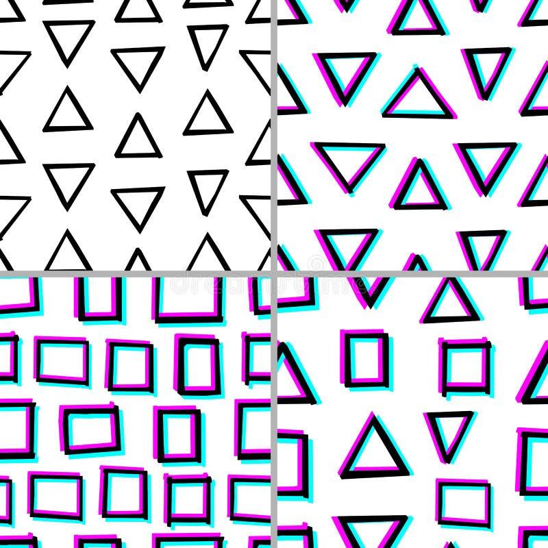 设置4与手拉的几何形状的无缝的装饰样式 3d立体镜作用 皇族释放例证