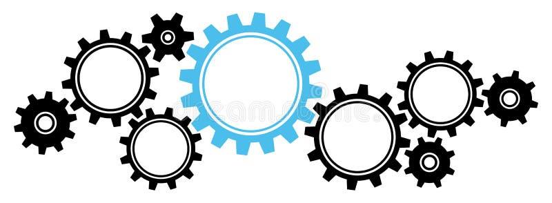 设置9个大小齿轮边框图形黑色和蓝色水平 皇族释放例证