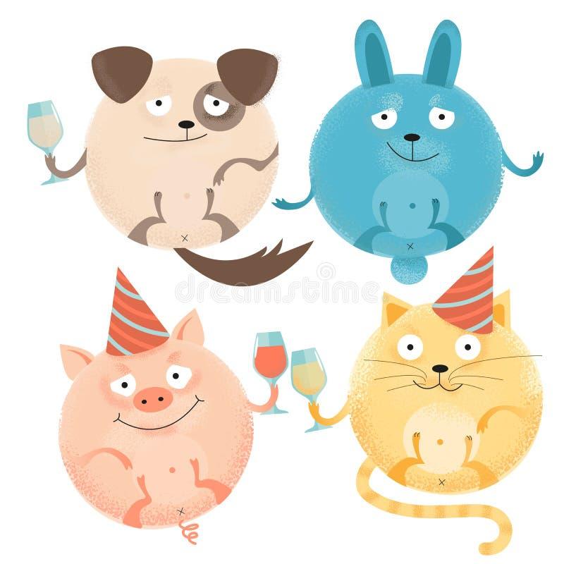 设置4个快乐的圆的动物在度假与玻璃的在欢乐盖帽 愉快的微笑的狗,兔子,猫,猪 被构造的舱内甲板 库存例证