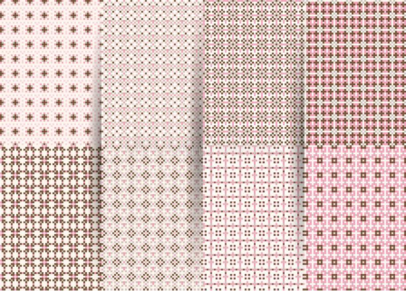 设置6个抽象无缝的方格的几何样式 织品的,印刷品,小孩衣服传染媒介桃红色几何ackground 免版税库存照片