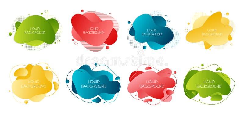 设置8个抽象现代图表液体元素 动态波浪不同的色的可变的形式 与流动的被隔绝的横幅 向量例证
