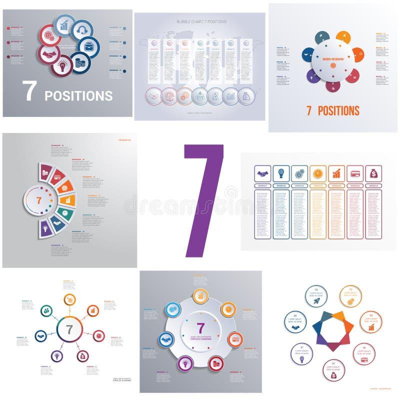 设置8个普遍模板元素Infographics概念性cycli 向量例证