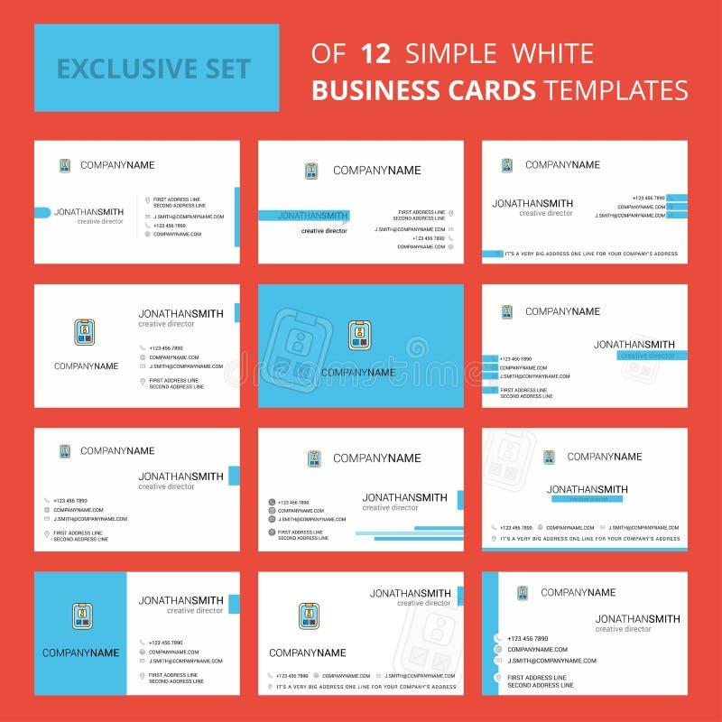 设置12个社会媒介用户概况创造性的Busienss卡片模板 编辑可能的创造性的商标和名片背景 皇族释放例证