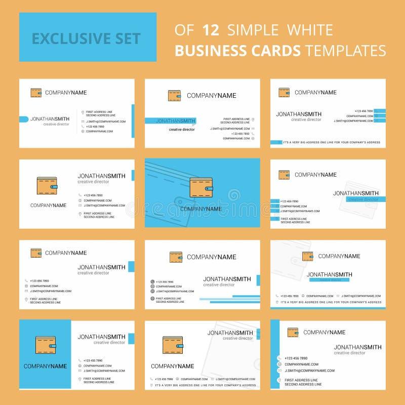 设置12个钱包创造性的Busienss卡片模板 编辑可能的创造性的商标和名片背景 皇族释放例证