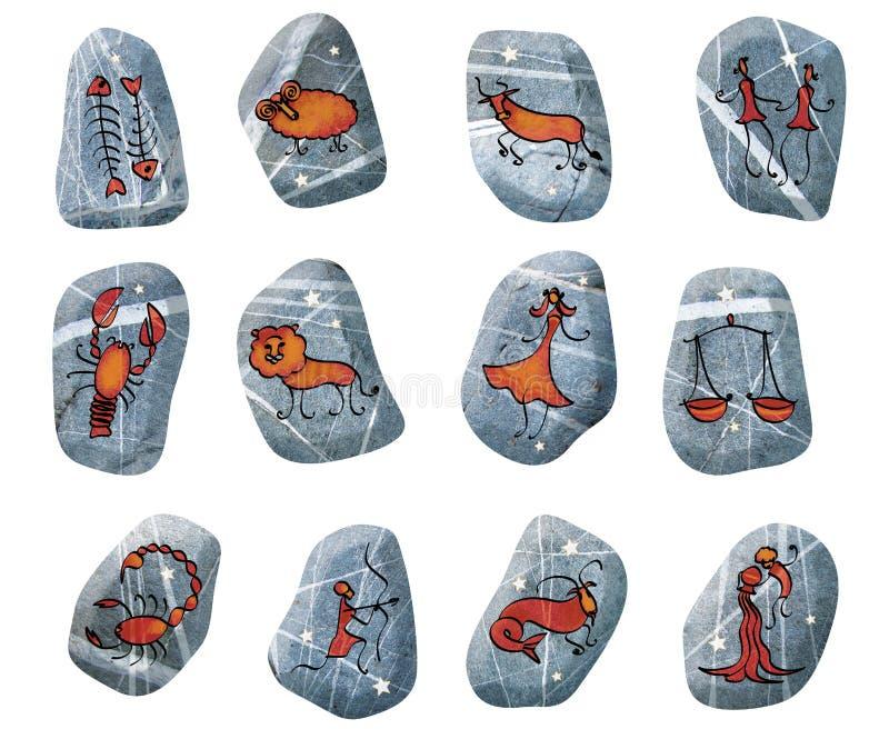 设置12个黄道十二宫 占卜的石头与黄道十二宫的指定 星座和星 向量例证