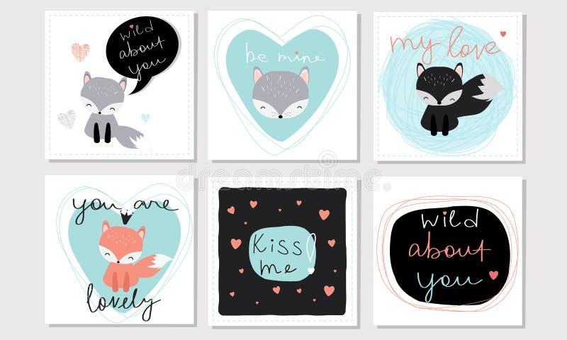 设置6传染媒介情人节启发了与逗人喜爱的kawaii动画片狐狸和在上写字的卡片 向量例证