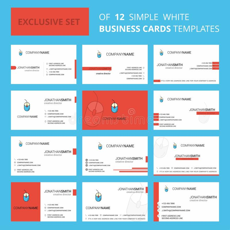 设置12只老鼠创造性的Busienss卡片模板 编辑可能的创造性的商标和名片背景 皇族释放例证