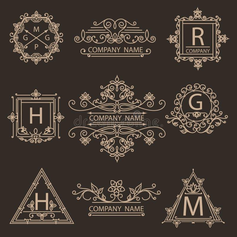 设置组合图案装饰商标象征 向量例证