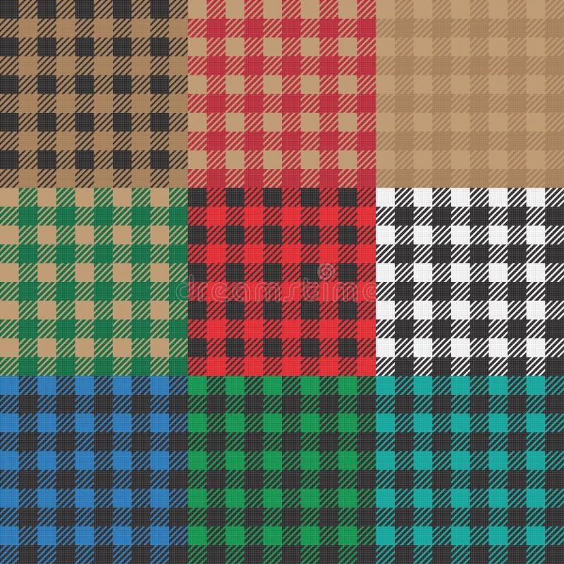 设置9方格花布、vichy样式野餐毯子的或桌布设计 向量例证