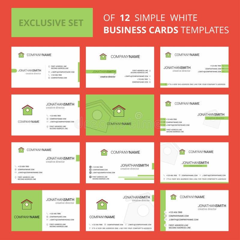 设置12犬小屋创造性的Busienss卡片模板 编辑可能的创造性的商标和名片背景 皇族释放例证