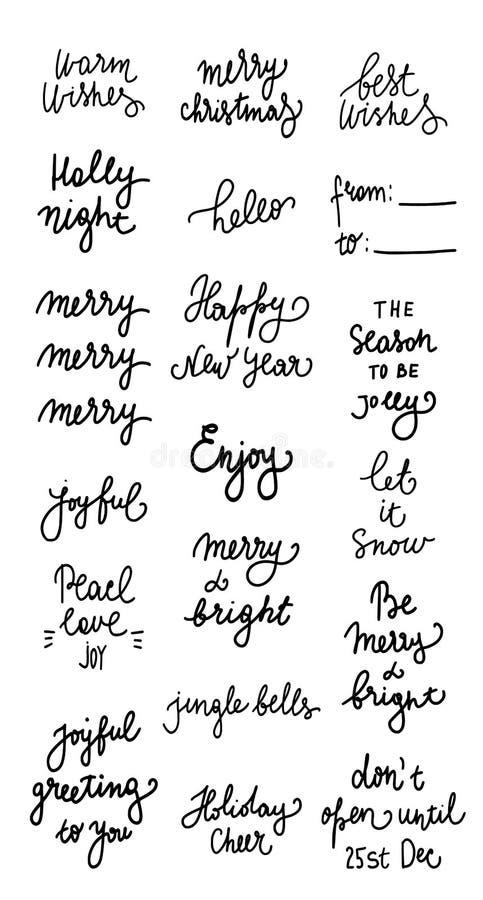 设置19贷方圣诞节和新年快乐庆祝假日递在行情上写字对贺卡,横幅,海报, 皇族释放例证