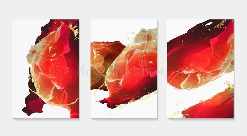 设置3d流动设计卡片 摘要传染媒介液体创造性的模板,卡片,颜色盖子,酒精墨水装饰 ?? 皇族释放例证