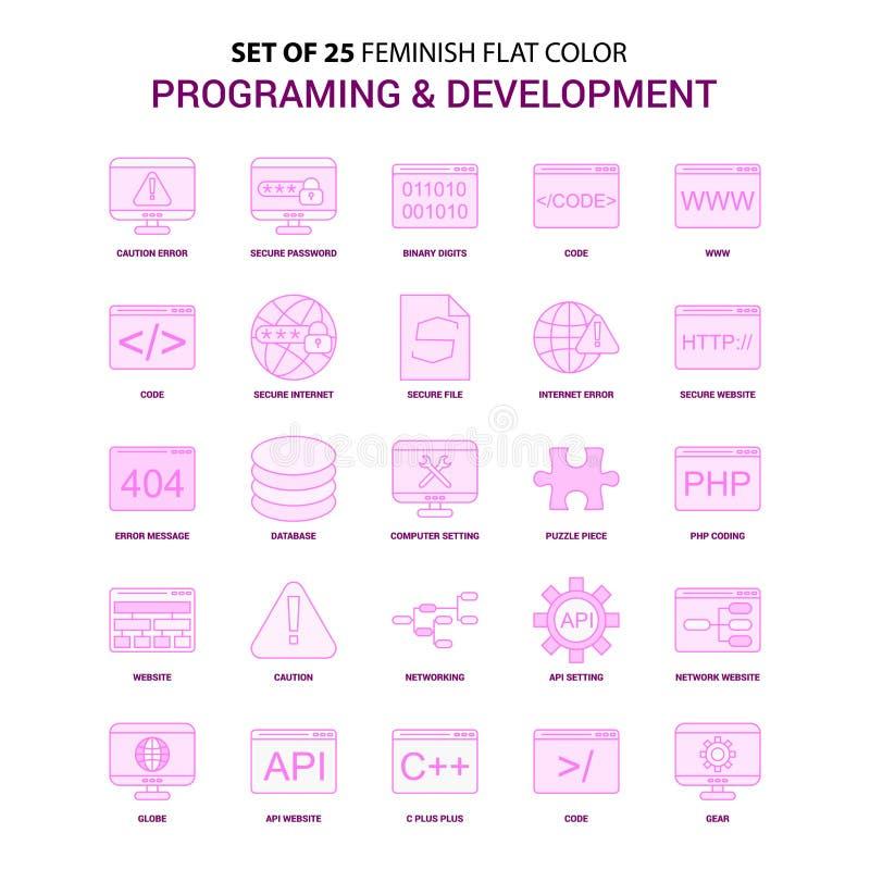 设置25 Feminish编程和发展平的颜色桃红色 皇族释放例证