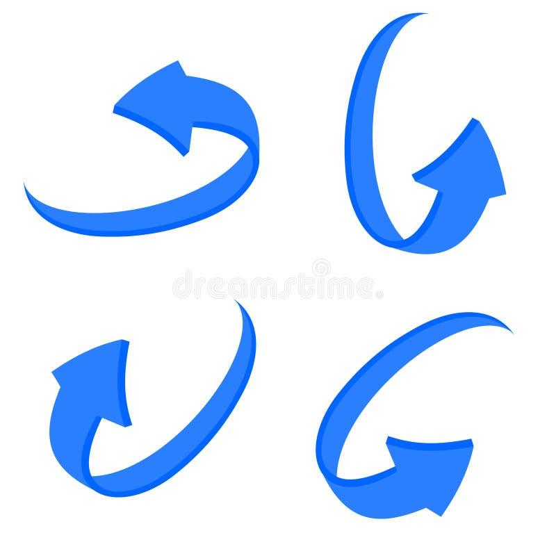 设置3d蓝色箭头 向量例证