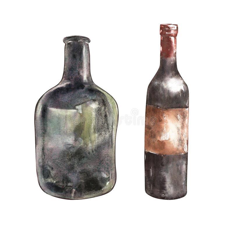 设置A瓶酒 背景查出的白色 手拉的水彩例证 向量例证