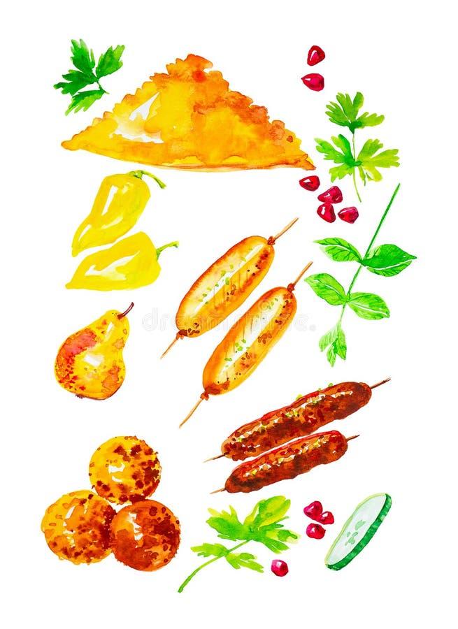 设置cheburek、甜椒、被烘烤的梨、石榴种子、蓬蒿、kebab、米饭团和黄瓜切片 水彩例证 向量例证