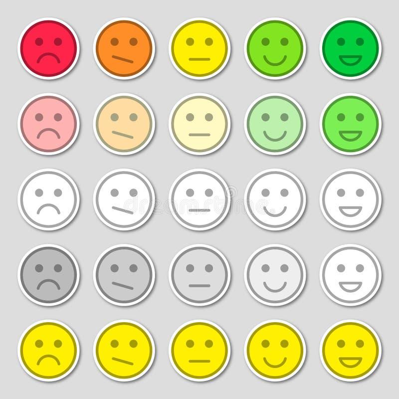 设置emoji平的象 r 愉快,哀伤和心情 表决标度象集合 向量例证