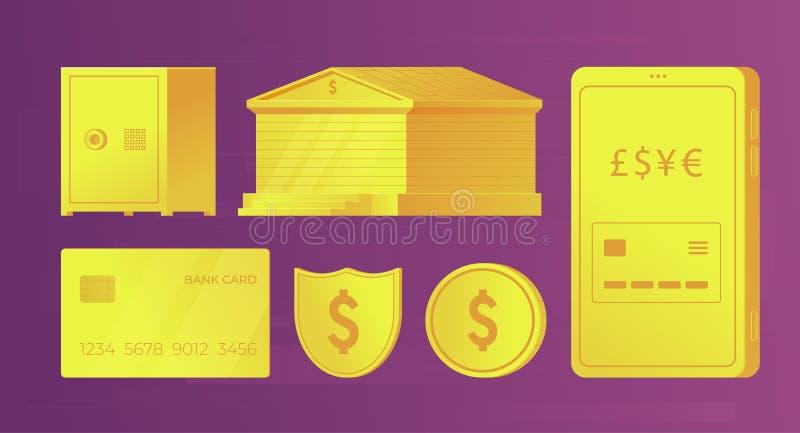 设置infographics和网横幅的银行金黄元素 银行大楼,信用卡,智能手机,硬币,保险柜,盾 库存例证