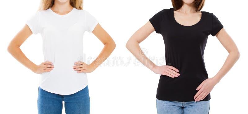设置T恤杉设计和人概念-关闭白色衬衣的空白和被隔绝的黑T恤杉的年轻女人 库存照片