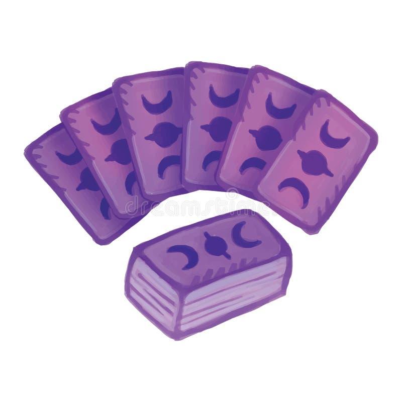 设置tarot甲板卡片 占卜甲板 卡片读书图象 库存例证