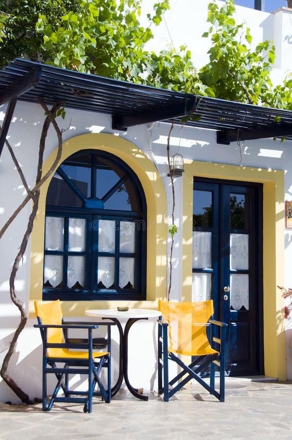 设置taverna的咖啡馆希腊旅馆海岛 免版税库存照片