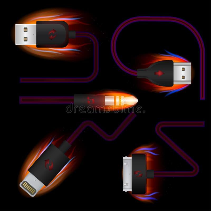 设置USB,导线,适配器,指挥,在火的连接 库存例证