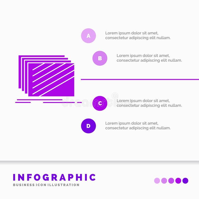 设计、层数、布局、纹理、纹理Infographics模板网站的和介绍 r 库存例证