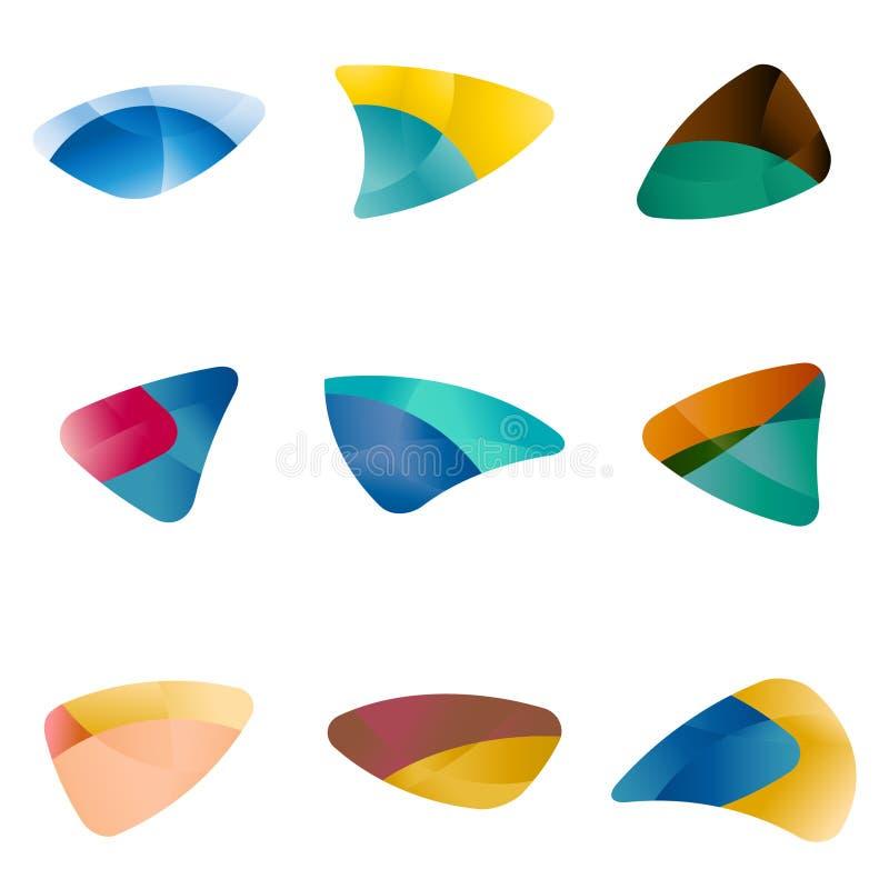 设计三角,叶子,肝脏,眼睛,圆arr 向量例证