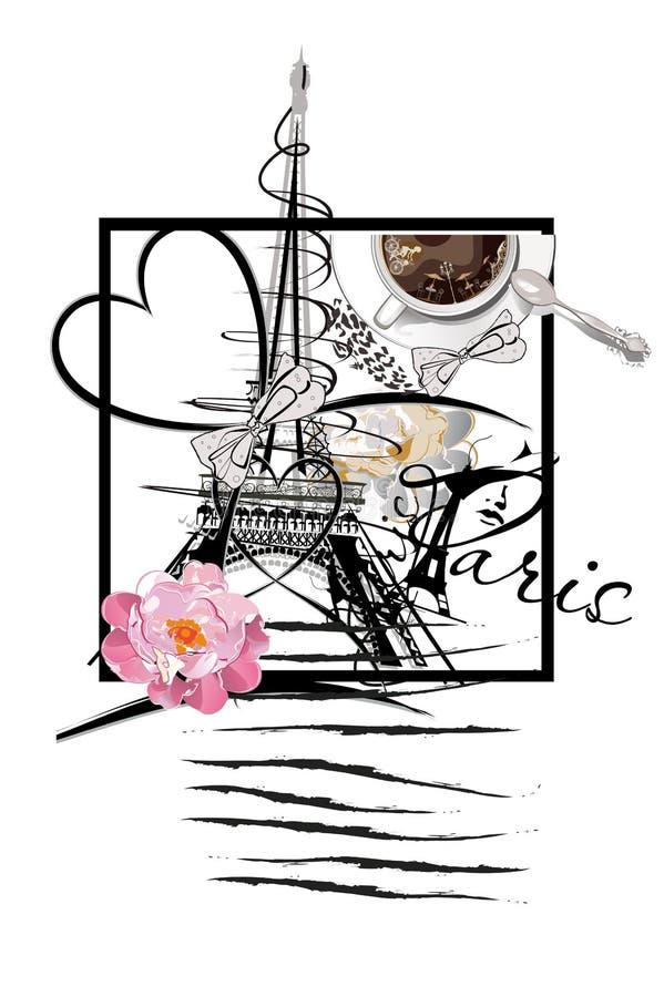 设计与埃佛尔铁塔和一杯咖啡 向量例证