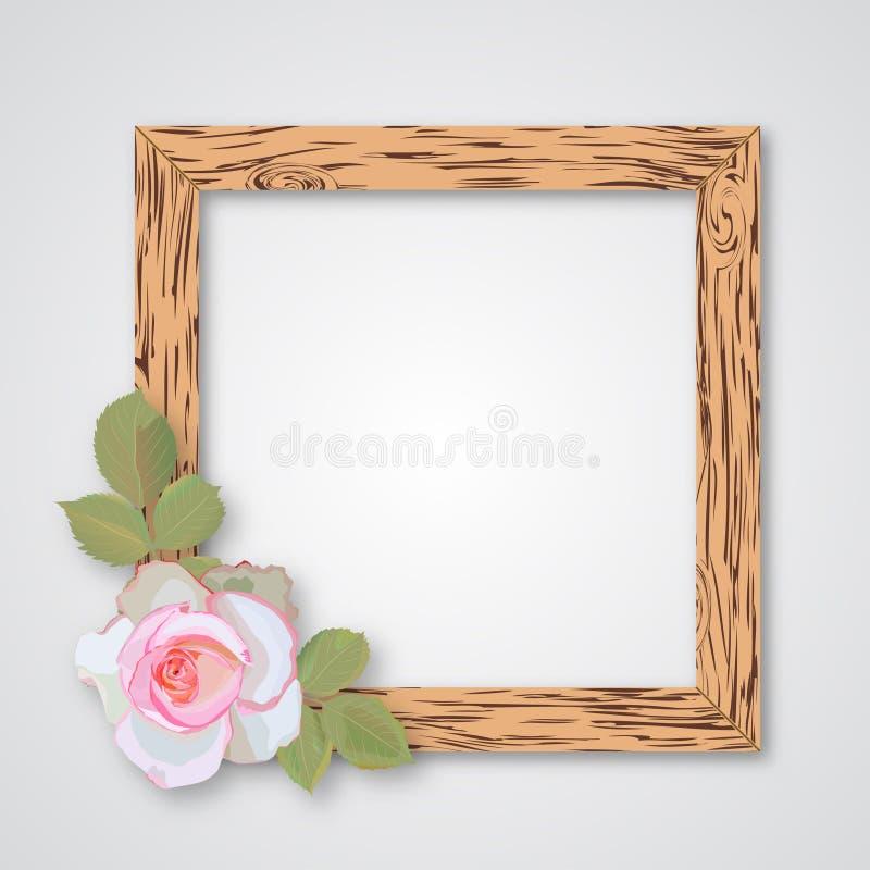 设计与玫瑰的木照片框架您的设计的 库存例证