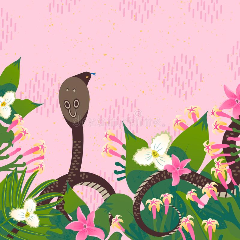 设计与眼镜蛇的画象的模板卡片 动画片一条蛇的样式象与热带叶子,花的 库存例证