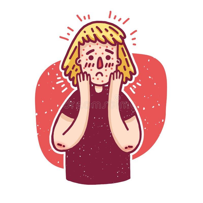 设计与逗人喜爱的青少年的女孩的横幅关于问题皮肤 有粉刺的少妇 关于dermatologica的模板例证 库存例证