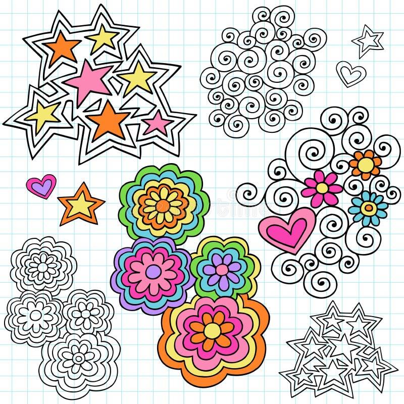 设计乱画要素时髦笔记本向量 库存例证