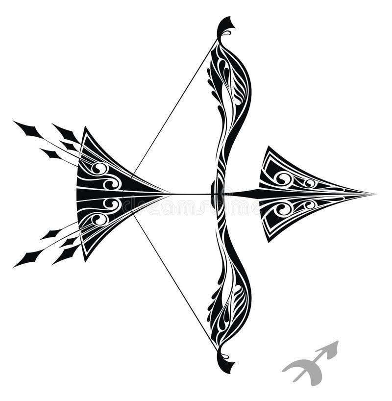 设计人马座符号纹身花刺黄道带 向量例证