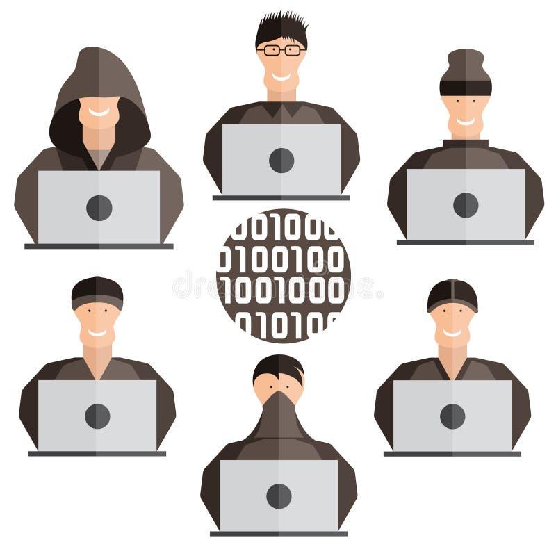 设计传染媒介套不同的黑客 皇族释放例证